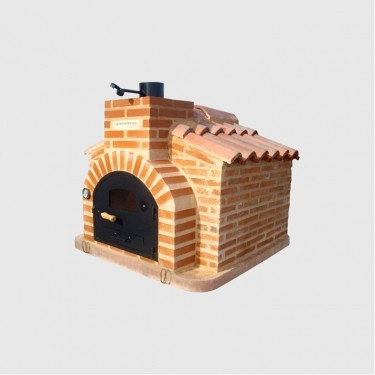 Oven assembled in brick hut